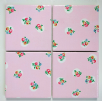 4 Ceramic Coasters in Cath Kidston Floral Spot Pink